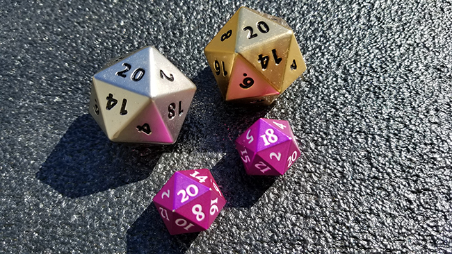 20-sided metal dice use when playing Force RPG